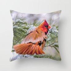 Christmas Cardinal. Throw Pillow