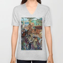 Mural of exploitation of Mexico by Spanish conquistadors by Diego Rivera Unisex V-Neck