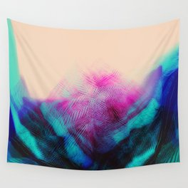 Dark Road Pink Hill Teal Valley Wall Tapestry