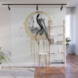 Coffee Stained Brown Pelican-Louisiana Series Wall Mural