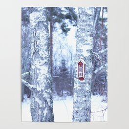 Red Bird House in Winter White Scene #decor #society6 #buyart Poster