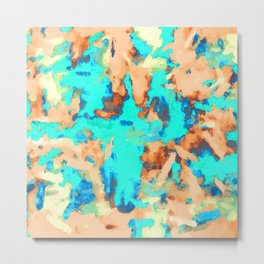 splash painting texture abstract background in blue and orange Metal Print