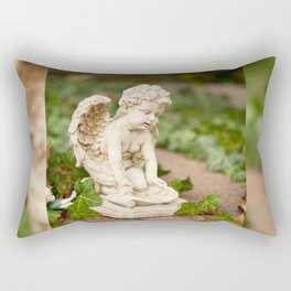 Small angel statue kneel Rectangular Pillow