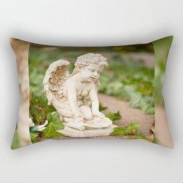 Small angel statue kneel Rectangular Pillow