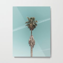 Malibu Beach Palm // California Beach Vibes Teal Ocean Sky Jetstream Photograph Metal Print