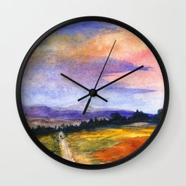 The Good Life, Landscape Watercolor Painting Wall Clock