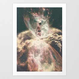 The Girl Who Swims In Clouds Art Print