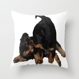 Rottweiler Puppies Playing Vector Isolated Throw Pillow