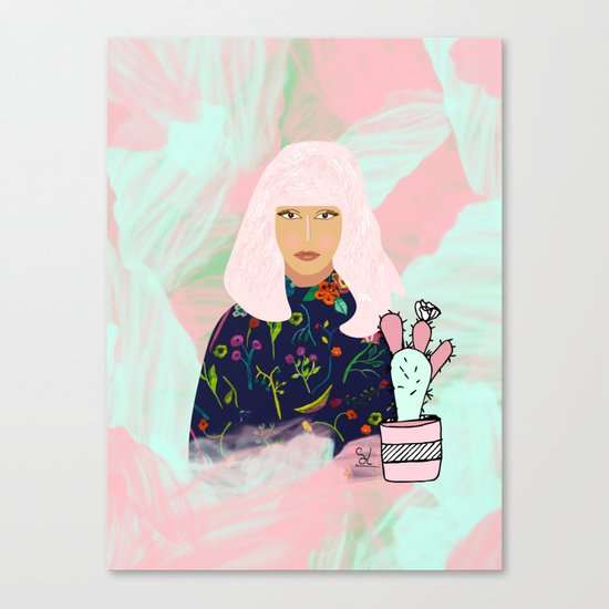 Pink Hair Don't Care I Canvas Print