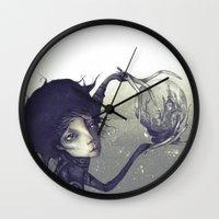 edward scissorhands Wall Clocks featuring Edward Scissorhands by Antonio Lorente