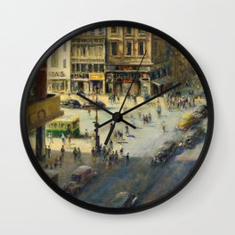 American Masterpiece 'Greenwich Village, NY' by Alfred S. Mira Wall Clock