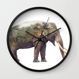 Double exposure of elephant and palm trees on white background Wall Clock