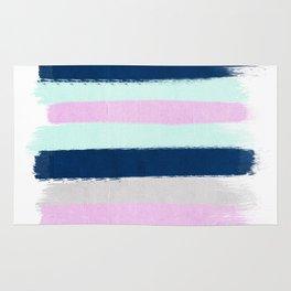 Minimal painted stripes pattern bright happy gender neutral colors Rug