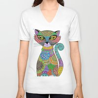paisley V-neck T-shirts featuring Paisley Pussy by SwanniePhotoArt