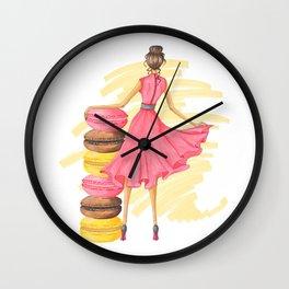 Girl With Macarons Pink Wall Clock