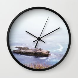 Pacific Ocean Rock and Flowers Wall Clock