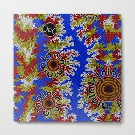 Authentic Aboriginal Art - Waterholes Corela Metal Print