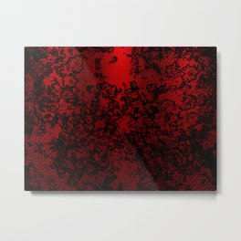 Red and black abstract decorative floral arabesque motif with metallic look Metal Print