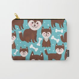 funny brown husky dog and white bones, Kawaii face with large eyes and pink cheeks blue background Carry-All Pouch