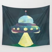 spaceship Wall Tapestries featuring Spaceship. by Dani Does Art