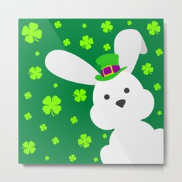 ST. PATRICK'S DAY BUNNY (abstract animals nature flowers happy irish, patricks) Metal Print