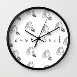 Cat-Empty Bowl Wall Clock