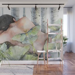 Sleeping in the Forest, Luna Moth Girl with Dark Hair Wall Mural
