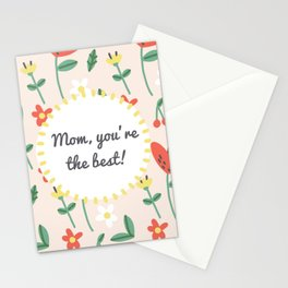 """Happy Mothers Day - """"mom you're the best""""  Stationery Cards"""