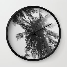 black and white palm trees Wall Clock