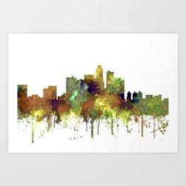 Los Angeles Skyline - Safari Buff Art Print