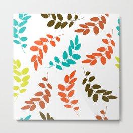 Colorful Leaves, Leaf Pattern - Blue Orange Green Metal Print