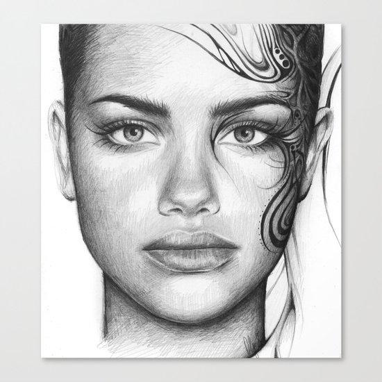 Adriana Lima Portrait Tattoos Beautiful Girl Canvas Print