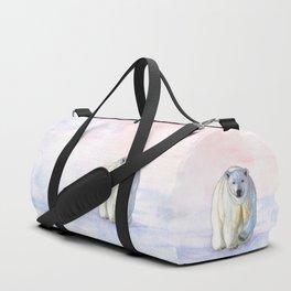 Polar bear in the icy dawn Duffle Bag