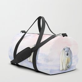 Polar bear in the icy dawn Duffle Bag