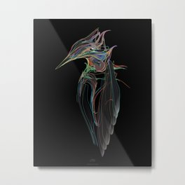 Kingfisher-1. Color lines on black background-(Red eyes series) Metal Print