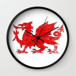 Welsh Dragon With Grunge Wall Clock