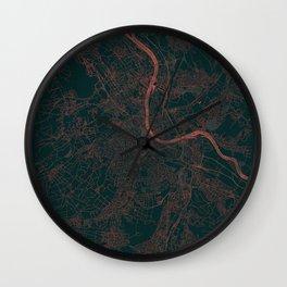 Basel Map Red Wall Clock