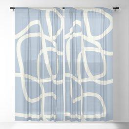 Maze in Gray Blue Sheer Curtain