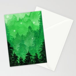 Green Christmas Forest Stationery Cards