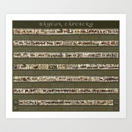 Bayeux Tapestry on Army Green - Full scenes & description Art Print