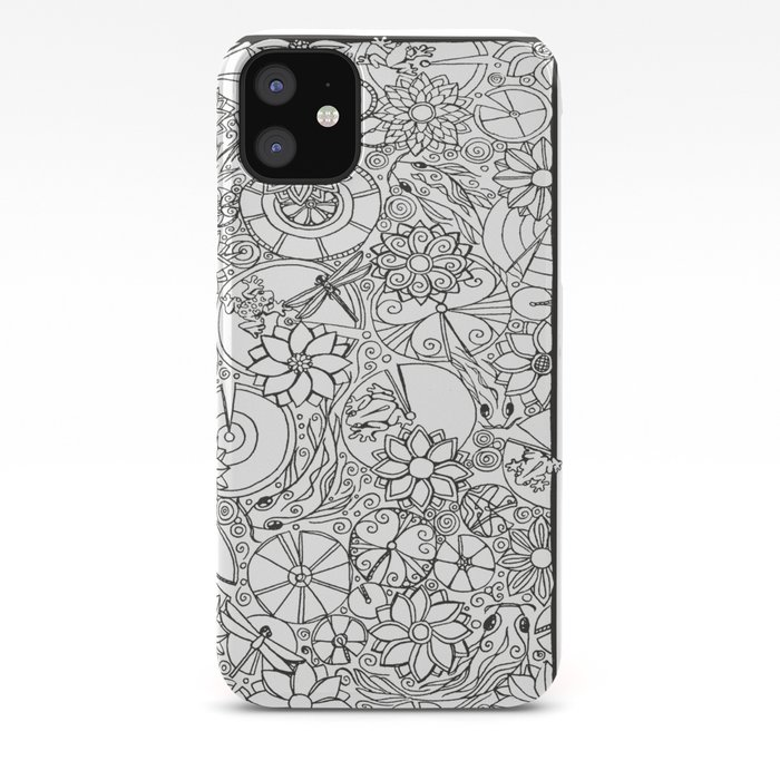 Koi Pond Coloring Page iPhone Case by alohalani