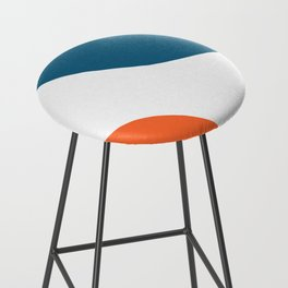 Meeting. Colorful Minimalist Abstract in Orange, Blue, and White Bar Stool