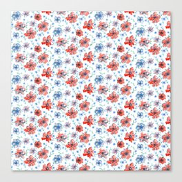 Blue and Red Floral Canvas Print