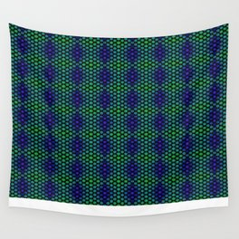 Snowflakes in Black, Green, and Blue Wall Tapestry