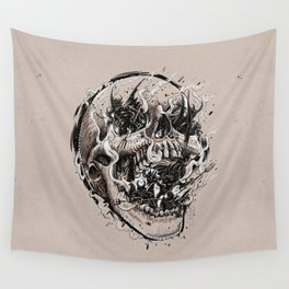 skull with demons struggling to escape Wall Tapestry