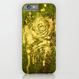 golden rose on green iPhone Case