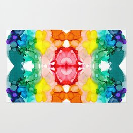 Rainbow Rorschach II Abstract Design Rug