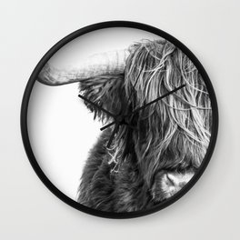Highland Cow Portrait - Black and White Wall Clock