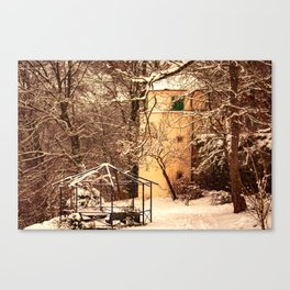 Wintry mood at the castle garden of Laupheim Canvas Print