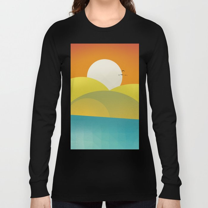 Chilaxing autumn on seaside Long Sleeve T-shirt